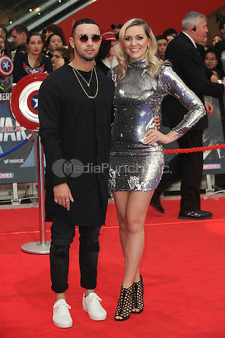 LONDON, ENGLAND - APRIL 26: Mason Noise and Larissa Eddie attend the European premiere of Captain America: Civil War at Westfield Shopping Centre on April 26, 2016 in London, England.<br /> CAP/BEL<br /> &copy;BEL/Capital Pictures /MediaPunch ***NORTH AMERICAN AND SOUTH AMERICAN SALES ONLY***