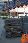 Security barriers are staged on a sidewalk on Huron Street across the street from the Quicken Loans Arena, the site of the 2016 Republican National Convention in Cleveland, Ohio on Friday, July 15, 2016. <br /> Credit: Ron Sachs / CNP<br /> (RESTRICTION: NO New York or New Jersey Newspapers or newspapers within a 75 mile radius of New York City)