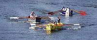 Nederland Zaandam 2019. De jaarlijkse sloepenrace Slag om de Zaan in Zaandam. Een spectaculaire sloeproeiwedstrijd van ruim 16 kilometer over de Zaan. Voorp de boot van Kesbeke. Foto Berlinda van Dam / Hollandse Hoogte