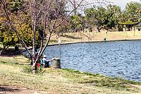A nice summer day as people fish at Lake Balboa, Encino, CA.