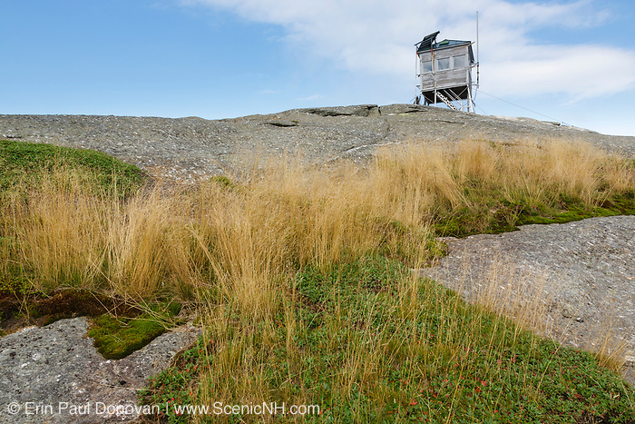 Mt Cardigan State Park - Cardigan Mountain Tower on Cardigan Mountain in Orange , New Hampshire USA. This fire tower was in operation from 1924-present. The summit area is a example of a subalpine rocky bald community.