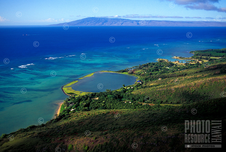 Aerial view of a restored fishpond on the southeastern coast of Molokai