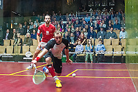 Simon Roesner (GER) vs. Gregory Gaultier (FRA) in the quarterfinals of the 2014 METROsquash Windy City Open held at the University Club of Chicago in Chicago, IL on March 1, 2014
