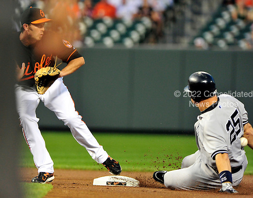 New York Yankees first baseman Mark Teixeira (25) is hit in the back with the ball as he doubles in the first inning against the Baltimore Orioles at Oriole Park at Camden Yards in Baltimore, Maryland in the second game of a doubleheader on Sunday, August 28, 2011.  .Credit: Ron Sachs / CNP.(RESTRICTION: NO New York or New Jersey Newspapers or newspapers within a 75 mile radius of New York City)
