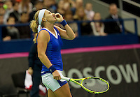 Moskou, Russia, Februari 7, 2016,  Fed Cup Russia-Netherlands, Frustration by Kuznetsova (RUS)<br /> Photo: Tennisimages/Henk Koster