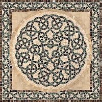 """22 1/8"""" Thornes medallion shown in Emperador Dark, Verde Alpi, Spring Green, Saint Richard, Travertine Noce."""