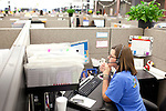 "AFLAC call center employee Andrea Bentley answers a call from a customer at a campus in Columbus, Georgia October 21, 2010. The center has changed the recorded voice to one that is more appealing to customers...""CREDIT: Kendrick Brinson/LUCEO The Wall Street Journal"".Voice"