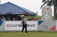Poor Saksansin (Asia) on the 6th tee during the Saturday Foursomes of the Eurasia Cup at Glenmarie Golf and Country Club on the 13th January 2018.<br /> Picture:  Thos Caffrey / www.golffile.ie