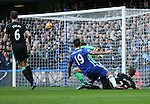 Chelsea's Diego Costa scoring his sides opening goal during the Premier League match at Stamford Bridge Stadium, London. Picture date December 11th, 2016 Pic David Klein/Sportimage
