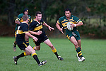 T. Tuifua has got on the outside of J. Chamberlain and now lines up C. Clotworthy. Counties Manukau Premier club rugby game between Bombay & Pukekohe played at Bombay on the 19th of May 2007. Pukekohe led 24 - 0 at halftime & went on to win 30 - 22.