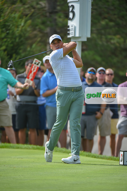 Jason Day (AUS) watches his tee shot on 13 during 1st round of the World Golf Championships - Bridgestone Invitational, at the Firestone Country Club, Akron, Ohio. 8/2/2018.<br /> Picture: Golffile | Ken Murray<br /> <br /> <br /> All photo usage must carry mandatory copyright credit (© Golffile | Ken Murray)