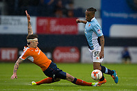 Blackpool's Neil Danns is fouled by Luton Town's Glen Rea<br /> <br /> Photographer Craig Mercer/CameraSport<br /> <br /> The EFL Sky Bet League Two Play-Off Semi Final Second Leg - Luton Town v Blackpool - Thursday 18th May 2017 - Kenilworth Road - Luton<br /> <br /> World Copyright &copy; 2017 CameraSport. All rights reserved. 43 Linden Ave. Countesthorpe. Leicester. England. LE8 5PG - Tel: +44 (0) 116 277 4147 - admin@camerasport.com - www.camerasport.com