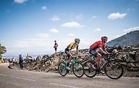 Dylan Teuns (BEL/Bahrein-Merida) & George Bennett (NZL/Jumbo Visma) up the Puerto de la Morcuera<br /> <br /> Stage 18: Colmenar Viejo to Becerril de la Sierra (178km)<br /> La Vuelta 2019<br /> <br /> ©kramon