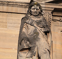 Statue of Jean-Baptiste Colbert, 1619-1683, politician, by Paul Gayrard, at the Turgot Wing, replaced 1985-93 by a copy, in the Cour Napoleon at the Musee du Louvre, Paris, France. A series of 86 statues of famous men were placed in this courtyard 1853-57 under the architects Louis Visconti and Hector Lefuel. Picture by Manuel Cohen