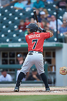 Christopher Bostick (7) of the Indianapolis Indians at bat against the Charlotte Knights at BB&T BallPark on May 26, 2018 in Charlotte, North Carolina. The Indians defeated the Knights 6-2.  (Brian Westerholt/Four Seam Images)