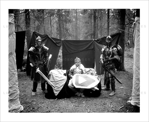 """The Nero Empire Live Action Role Players (LARP) gather for a three day LARPING event in forest land outside of Conifer, Colo.  LARPING is a scenario-based event where participants create characters for themselves and participate in play based around that theme.  Characters form alliances, fight for common goals, and can be """"killed."""""""