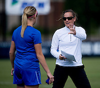 DePaul head coach Erin Chastain talks to Elise Wyatt (7) before the game at Shaw Field on the campus of Georgetown University in Washington, DC.  Georgetown tied DePaul, 1-1, in double overtime.