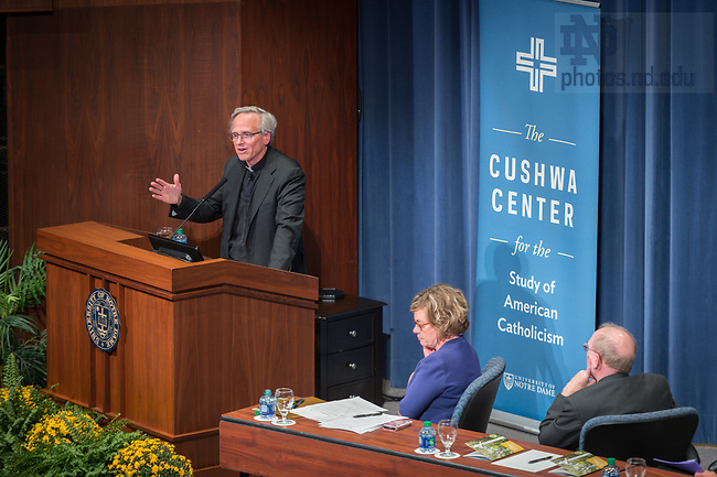 September 5, 2017; Rev. John I. Jenkins, C.S.C., president of the University of Notre Dame, gives remarks during a panel discussion on the history and impact of the Land O'Lakes charter on Catholic higher education. (Photo by Matt Cashore/University of Notre Dame)