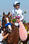 ARCADIA, CA  APRIL 7: #6 Justify, ridden by Mike Smith, wearing his blanket of flowers after winning the Santa Anita Derby (Grade l) on April 7, 2018, at Santa Anita Park in Arcadia, Ca.  (Photo by Casey Phillips/ Eclipse Sportswire/ Getty Images)