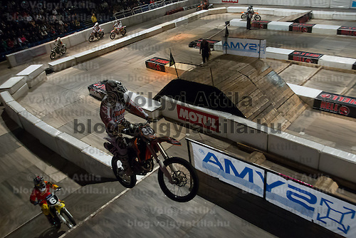 Gabor Voros from Hungary competes during the Indoor Super Moto-Cross race in Budapest, Hungary on February 4, 2012. ATTILA VOLGYI