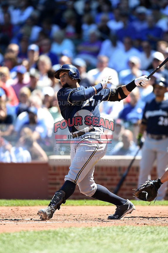 Milwaukee Brewers outfielder Carlos Gomez (27) at bat during a game against the Chicago Cubs on August 14, 2014 at Wrigley Field in Chicago, Illinois.  Milwaukee defeated Chicago 6-2.  (Mike Janes/Four Seam Images)