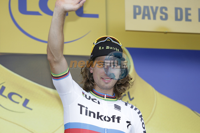 Race leader World Champion Peter Sagan (SVK) Tinkoff retains the leader's Yellow Jersey at the end of Stage 3 of the 2016 Tour de France, running 223.5km from Granville to Angers, France . 4th July 2016.<br />