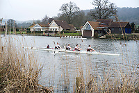 Henley. United Kingdom.  General View, as a crew start, their race, Henley Fours &amp; Eights Henley Head,, River Thames. H-O-T, England.<br /> <br /> Saturday  18/02/2017<br /> <br /> [Mandatory Credit. Peter SPURRIER/Intersport Images]