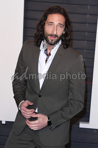 28 February 2016 - Beverly Hills, California - Adrien Brody. 2016 Vanity Fair Oscar Party hosted by Graydon Carter following the 88th Academy Awards held at the Wallis Annenberg Center for the Performing Arts. Photo Credit: AdMedia