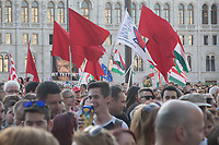 European Left supporters with red flags participate in a demonstration against the outcome of the general elections in Budapest, Hungary on April 21, 2018. ATTILA VOLGYI