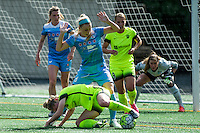Seattle, WA - Sunday, May 22, 2016: Seattle Reign FC midfielder Kim Little (8) fights to maintain possession against Chicago Red Stars defender Julie Johnston (8) during a regular season National Women's Soccer League (NWSL) match at Memorial Stadium. Chicago Red Stars won 2-1.