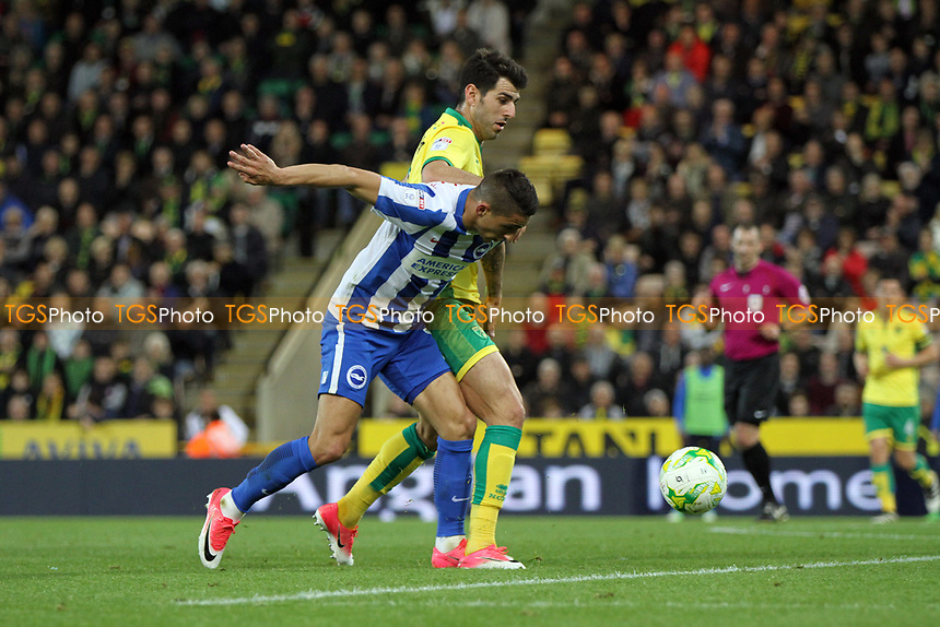 Ryan Bennett of Norwich City challenges Anthony Knockaert of Brighton and Hove Albion for the ball during Norwich City vs Brighton & Hove Albion, Sky Bet EFL Championship Football at Carrow Road on 21st April 2017