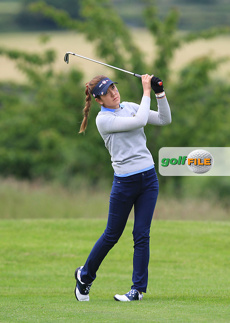 Hannah O'Sullivan on the 1st during the Friday morning Foursomes of the 2016 Curtis Cup at Dun Laoghaire Golf Club on Friday 10th June 2016.<br /> Picture:  Golffile | Thos Caffrey