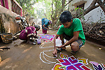 Pongal kolams in the village of  Kuylapalayam, Tamil Nadu.