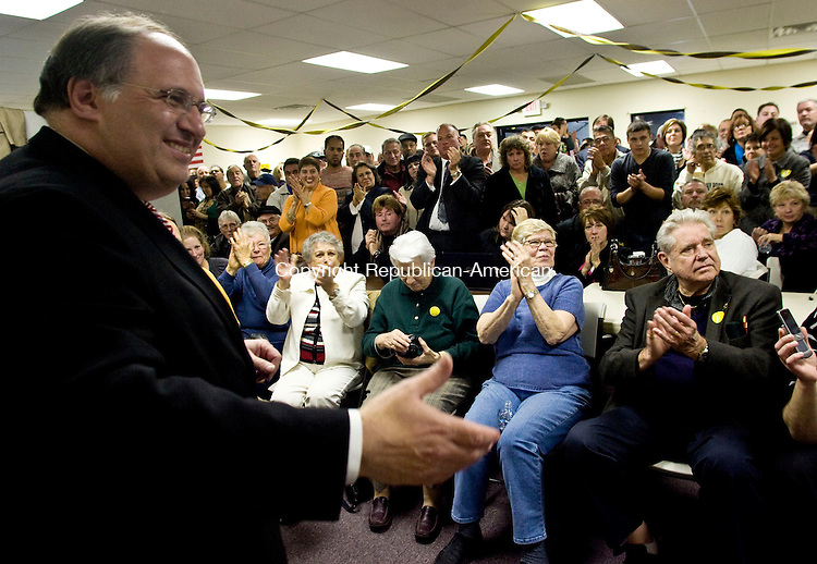 WATERBURY, CT - 03 NOVEMBER 2009 -110309JT06-<br /> Waterbury Mayor Michael J. Jarjura receives applause from supporters after beating Independent John Theriault in Tuesday's mayoral race in Waterbury at his campaign headquarters on Scott Road.<br /> Josalee Thrift Republican-American