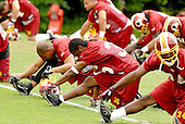 Ashburn, VA - June 16, 2007 -- Washington Redskin players including Jerametrius Butler (35) and Byron Westbrook (34) participate stretching exercises on day two of their second and final mini-camp at Redskin Park in Ashburn, Virginia on Saturday, June 16, 2007..Credit: Ron Sachs / CNP