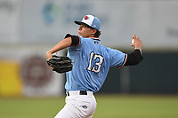Hickory Crawdads starting pitcher Ricky Vanasco (13) delivers a pitch during game one of the Northern Division, South Atlantic League Playoffs against the Delmarva Shorebirds at L.P. Frans Stadium on September 4, 2019 in Hickory, North Carolina. The Crawdads defeated the Shorebirds 4-3 to take a 1-0 lead in the series. (Tracy Proffitt/Four Seam Images)