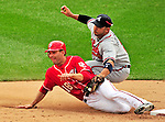 26 September 2010: Atlanta Braves infielder Alex Gonzalez gets a stealing Danny Espinosa out at second during game action against the Washington Nationals at Nationals Park in Washington, DC. The Nationals defeated the pennant-seeking Braves 4-2 to take the rubber match of their 3-game series. Mandatory Credit: Ed Wolfstein Photo