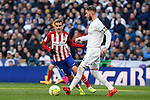Real Madrid´s Sergio Ramos and Atletico de Madrid´s Antoine Griezmann during 2015/16 La Liga match between Real Madrid and Atletico de Madrid at Santiago Bernabeu stadium in Madrid, Spain. February 27, 2016. (ALTERPHOTOS/Victor Blanco)