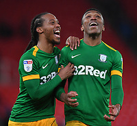 Preston North End's Daniel Johnson and Darnell Fisher celebrate at the final whistle<br /> <br /> Photographer Dave Howarth/CameraSport<br /> <br /> The EFL Sky Bet Championship - Stoke City v Preston North End - Wednesday 12th February 2020 - bet365 Stadium - Stoke-on-Trent <br /> <br /> World Copyright © 2020 CameraSport. All rights reserved. 43 Linden Ave. Countesthorpe. Leicester. England. LE8 5PG - Tel: +44 (0) 116 277 4147 - admin@camerasport.com - www.camerasport.com