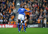 Birmingham City's Cheick Ndoye vies for possession with Wolverhampton Wanderers' Diogo Jota<br /> <br /> Photographer Ashley Crowden/CameraSport<br /> <br /> The EFL Sky Bet Championship - Wolverhampton Wanderers v Birmingham City - Sunday 15th April 2018 - Molineux - Wolverhampton<br /> <br /> World Copyright &copy; 2018 CameraSport. All rights reserved. 43 Linden Ave. Countesthorpe. Leicester. England. LE8 5PG - Tel: +44 (0) 116 277 4147 - admin@camerasport.com - www.camerasport.com