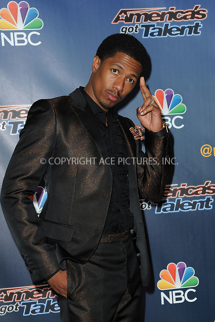 WWW.ACEPIXS.COM<br /> July 29, 2014 New York City<br /> <br /> Nick Cannon attending the 'America's Got Talent' red carpet arrivals at Radio City Music Hall in New York City on July 29, 2014.<br /> <br /> By Line: Kristin Callahan/ACE Pictures<br /> ACE Pictures, Inc.<br /> tel: 646 769 0430<br /> Email: info@acepixs.com<br /> www.acepixs.com<br /> Copyright:<br /> Kristin Callahan/ACE Pictures