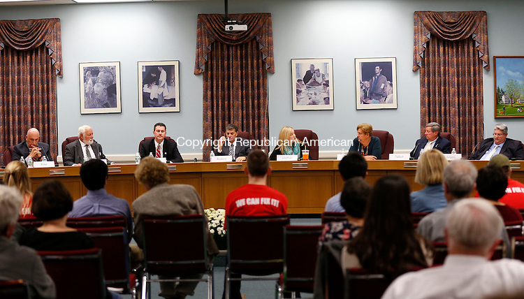 Cheshire, CT- 21 October 2015-102115CM03-  Candidates for the Cheshire Town Council including from left, Michael Ecke, Sherwood Dawson, Derek Gromko, Tom Rocco, Liz Linehan, Marion Nero, Peter Talbot and<br /> Adam Grippo participate in debate at the Cheshire Town Hall on Wednesday. The event was put on by The League of Women Voters of Cheshire/Wallingford.    Christopher Massa Republican-American
