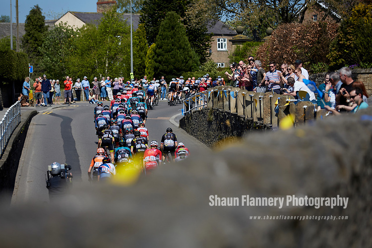Picture by Shaun Flannery/SWpix.com - 05/05/2018 - Cycling - 2018 Tour de Yorkshire - Stage 3: Richmond to Scarborough - Yorkshire, England<br /> <br /> Peloton in Bedale