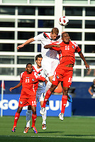 Andre Hainault (5) Canada, Luis Renteria (16) Panama go up for a header...Canada and Panama played to a 1-1 tie in Gold Cup play at LIVESTRONG Sporting Park. Kansas City Kansas.