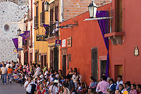 Crowd gathers for the EASTER PROCESSION commencing from the  TEMPLO DEL ORATORIO DE SAN FELIPE NERI - SAN MIGUEL DE ALLENDE, MEXICO ...