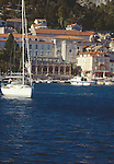 Croatia, Hvar, Hvar Island, Dalmatian Islands, historic Venetian harbor, architecture, yachts, sailboats, Dalmatian coast, Adriatic Sea, Europe,.