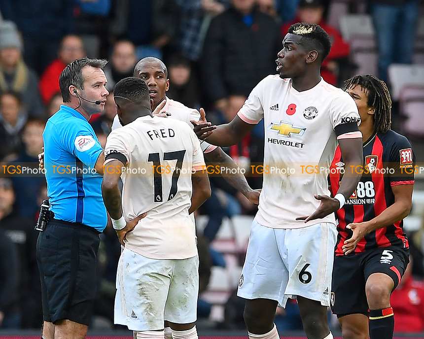 Paul Pogba of Manchester United reacts after a word from Referee Paul Tierney  during AFC Bournemouth vs Manchester United, Premier League Football at the Vitality Stadium on 3rd November 2018