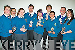 Receivers of the award for Christian Leadership at The Mercy Mounthawk Transition Year Awards night held in The Siamsa Tire on Friday night were l/r John Prendergast, Ciara Browne, Karen Moynihan, John Donovan, Emma Nolan, Eoghan O'Kelly,.Ethan Cronin, Darragh Creagh and Celine Kissane......................................................................................................................................................................................... ............