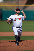 Scottsdale Scorpions pitcher TJ House (58) delivers a pitch during an Arizona Fall League game against the Surprise Saguaros on October 22, 2015 at Scottsdale Stadium in Scottsdale, Arizona.  Surprise defeated Scottsdale 7-6.  (Mike Janes/Four Seam Images)
