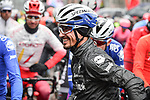 Pre race favourite Julian Alaphilippe (FRA) and Deceuninck-Quick Step at sign on before the start of the 105th edition of Liège-Bastogne-Liège 2019, La Doyenne, running 256km from Liege to Liege, Belgium. 28th April 2019<br /> Picture: ASO/Gautier Demouveaux | Cyclefile<br /> All photos usage must carry mandatory copyright credit (© Cyclefile | ASO/Gautier Demouveaux)